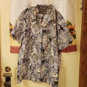 Kool Designs Beige Wild Animals Short Sleeve Shirt